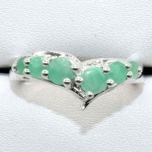 Silver Emerald(1.2ct) Rhodium Plated Ring
